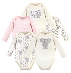 Touched by Nature Baby Girls Elephant Long-Sleeve Bodysuits, Pack of 5