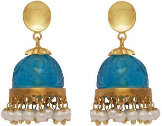 Carousel Jewels Carved Blue Quartz & Pearl Chandelier Earrings