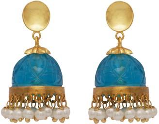 Carved Blue Quartz & Pearl Chandelier Earrings