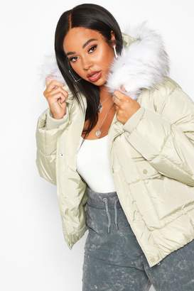 boohoo Plus Faux Fur Hooded Puffer Parka Jacket