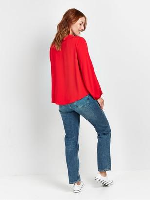 Wallis Ruffle Blouson Top - Red