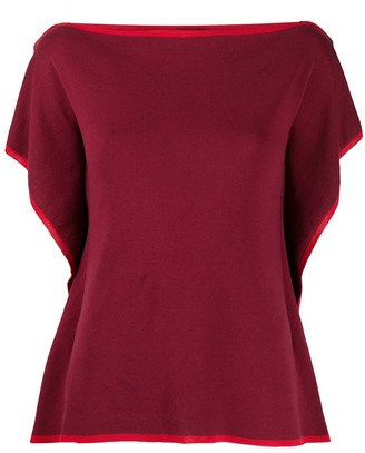 Maison Flaneur Square Neck Contrast Trim Knitted Top