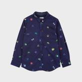 Paul Smith Boys' 7+ Years Navy Neon Symbols Print 'Mercer' Shirt