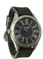 Welder Men's Quartz Watch with Black Dial Analogue Display and Black Leather Strap K21-505