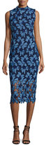 Shoshanna Monticello Sleeveless Floral Lace Cocktail Dress, Azure/Navy