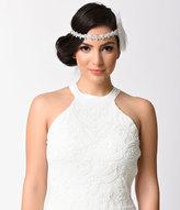 Ivory Feather & Silver Rhinestone Gatsby Headband