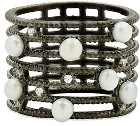 Freida Rothman Cultured Freshwater Pearl Textured Cage Ring