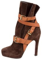Christian Louboutin Suede Buckle-Accented Ankle Boots