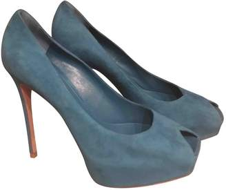 Gianvito Rossi Turquoise Suede Heels
