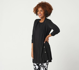 Susan Graver Every Day by Liquid Knit Duster with Snap Detail