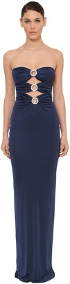 Azzaro STRAPLESS VISCOSE DRESS W/CRYSTAL DETAIL