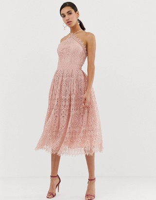 Asos Design DESIGN lace midi dress with pinny bodice-Pink