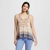 Almost Famous Women's Printed Lace Up Tank Top Juniors')