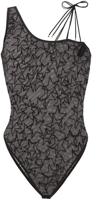 Le Petit Trou Honorine Lace-up Flocked Tulle Bodysuit