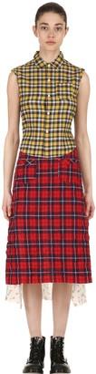 R 13 Patchwork Cotton Shirt Midi Dress