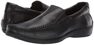 Johnston & Murphy Crawford Venetian (Black Tumbled Full Grain) Men's Slip on Shoes