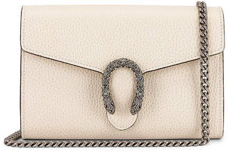 Gucci Leather Chain Shoulder Bag in Mystic White & Black Diamond | FWRD