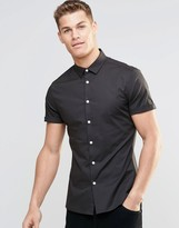 Asos Skinny Shirt In Mid Gray With Short Sleeves