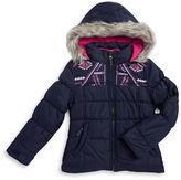 London Fog Girls 2-6x Faux Fur Trimmed 2-in-1 Puffer Coat