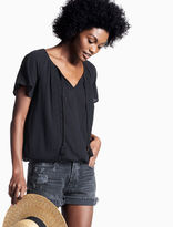 Lucky Brand Gauze Embroidered Top