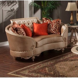 """Oak Hill Curved 80"""" Recessed Arm Loveseat with Pillow Astoria Grand"""