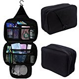 HDE Personal Travel Shower Organizer Hanging Toiletry Wash Bag Bathroom Tote (Black)