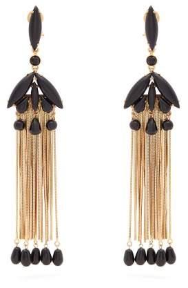 Etro Beaded Tassel Earrings - Womens - Black