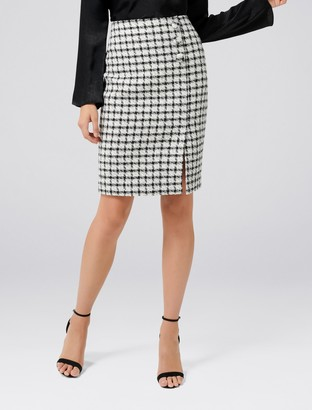 Forever New Lucy Boucle Wrap Button Pencil Skirt - Black White - 16
