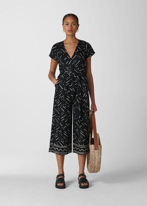 Kuba Print Etta Linen Jumpsuit