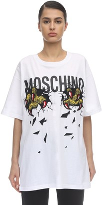 Moschino Over Monster Print Cotton Jersey T-Shirt