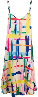 Essentiel Antwerp Brush Stroke Print Slip Dress