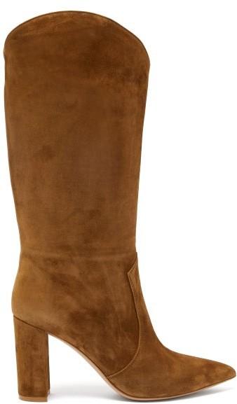 Gianvito Rossi Navarre 85 Suede Boots - Womens - Tan
