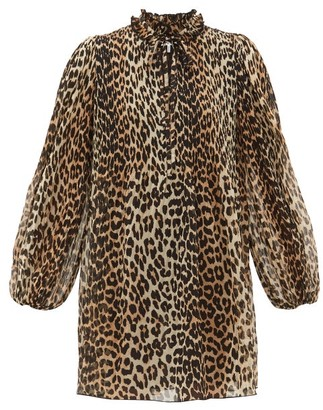 Ganni Leopard-print Plisse-georgette Mini Dress - Leopard