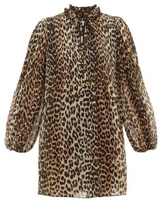 Ganni Leopard-print Plisse-georgette Mini Dress - Womens - Leopard