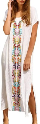 MEIbax Women Summer Kaftan Beach Swimwear Embroidered Cover Up Short Sleeve Long Dress (Free