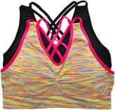 Angelina Black & Pink Wireless Medium Impact Sports Bra Set - Plus Too