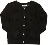 Milly Open-Worked Cardigan-BLACK