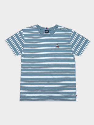 Le Coq Sportif Essentiel Stripe T-Shirt in Steel Blue