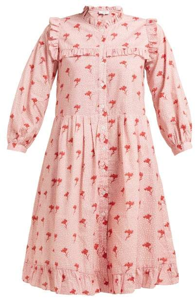 Sea Ruffled Floral Print Cotton Dress - Womens - Pink Multi