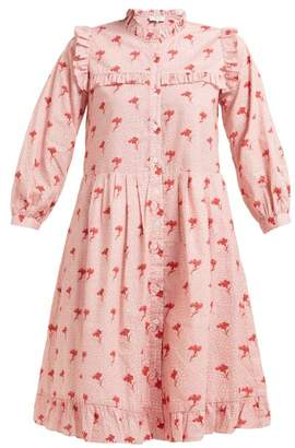 Sea Ruffled Floral-print Cotton Dress - Womens - Pink Multi