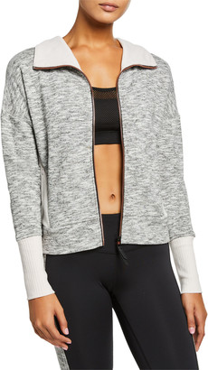 Lukka Lux Marled Zip-Front Jacket with Ribbed Trim