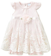 Edgehill Collection Baby Girls Newborn-6 Months Lace-Overlay Rosette Romper