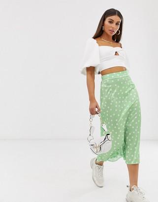 Aeryne bias cut midi skirt in spot print