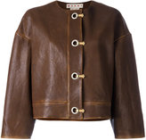 Marni leather hook and eyelet jacket - women - Silk/Leather - 42