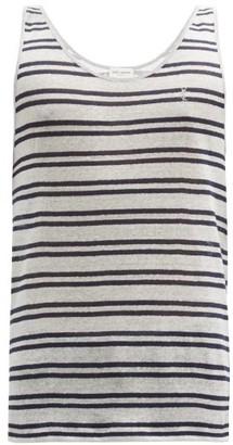 Saint Laurent embroidered Striped Linen-jersey Tank Top - Blue Stripe