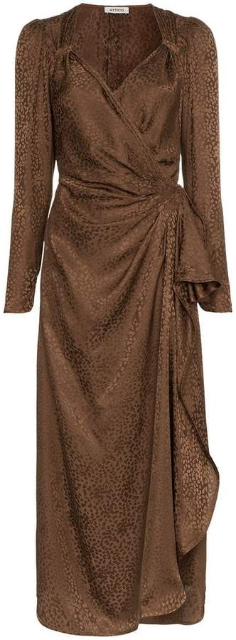 ATTICO silk draped maxi dress