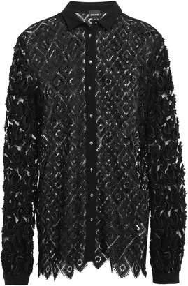 Just Cavalli Fil Coupe Tulle-paneled Macrame Lace Shirt