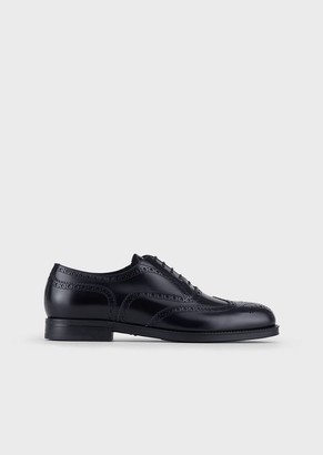 Giorgio Armani Brushed Leather Oxford Brogues With Perforations