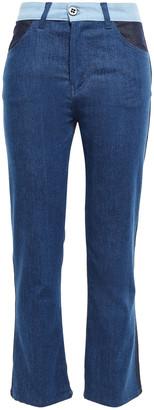 Victoria Victoria Beckham Paneled High-rise Kick-flare Jeans
