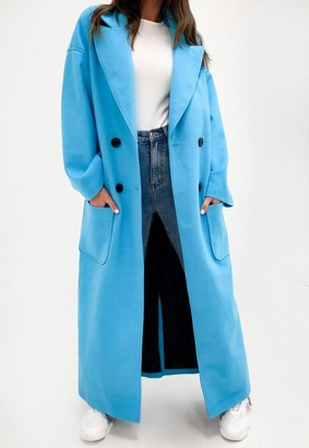 Missguided Blue Double Breasted Formal Coat